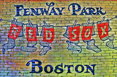 Photograph - Hanging Sox Mural - Fenway Park by Allen Beatty