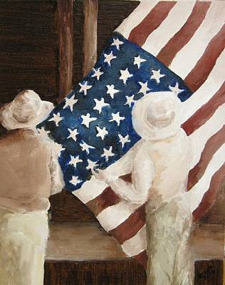 Hanging The Flag - 1 Art Print by Frieda Bruck