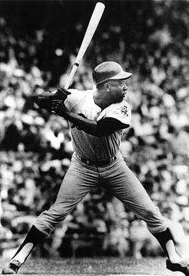 Baseball Uniform Photograph - Hank Aaron About To Get His 3000th Hit by Everett