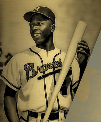 Hank Aaron Collection Art Print by Marvin Blaine