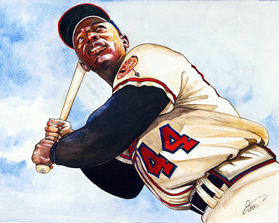 Babe Ruth Drawing - Hank Aaron by Dave Olsen