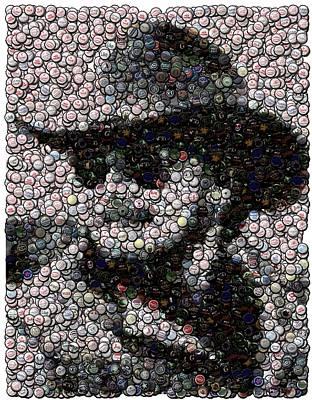Hank Williams Jr. Bottle Cap Mosaic Art Print