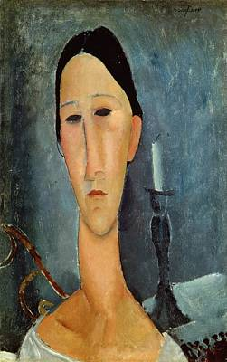 Hanka Zborowska With A Candlestick Art Print by Amedeo Modigliani