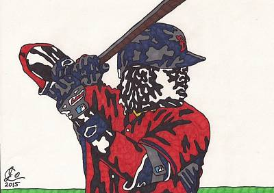 Mlb Boston Red Sox Drawing - Hanley Ramirez 1 by Jeremiah Colley