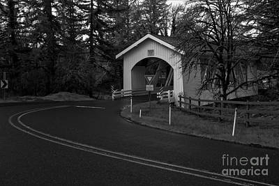 Photograph - Hannah Covered Bridge - Black And White by Adam Jewell