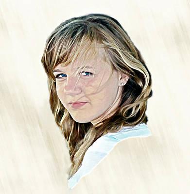 Youth Digital Art - Hannah Portrait by Randy Steele