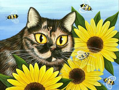 Tortie Painting - Hannah Tortoiseshell Cat Sunflowers by Carrie Hawks