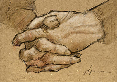 Works Drawing - Hanna's Hands by H James Hoff