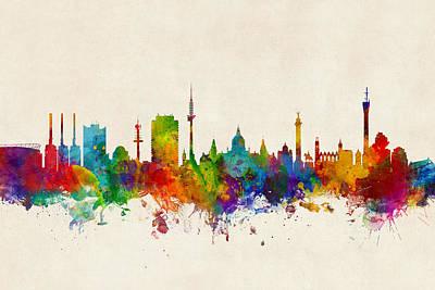 Digital Art - Hannover Germany Skyline by Michael Tompsett