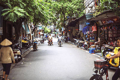 Photograph - Hanoi, Vietnam - Hanoi City Street View With People by Eduardo Huelin