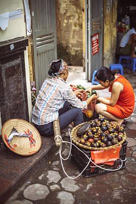 Photograph - Hanoi, Vietnam -  Vietnamese Street Market Seller, O by Eduardo Huelin