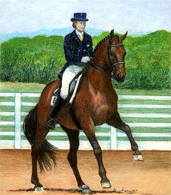 Hanovarian Dressage Horse Drawing - Hanovarian Dressage Horse Portrait by Olde Time  Mercantile
