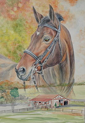 Hanovarian Dressage Horse Painting - Hanoverian Warmblood Horse by Gail Dolphin