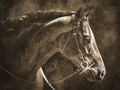 Hanoverian Painting - Hanoverian Horse In Sepia by Crista Forest
