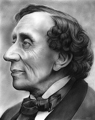 Poem Drawing - Hans Christian Andersen by Greg Joens
