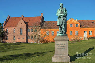 Hans Christian Andersen Statue  In Odense, Dernmark Art Print by Frank Bach