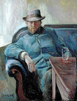 Sitting Painting - Hans Jaeger Painted by Edvard Munch