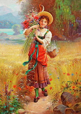 Photograph - Hans Zatzka Flowers Girl by Munir Alawi