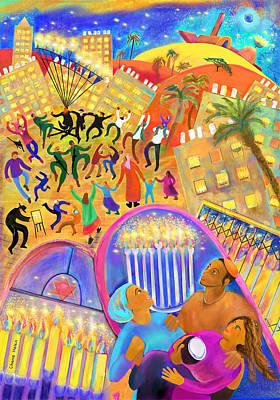 Painting - Hanukkah In Be'er Sheva by Chana Helen Rosenberg