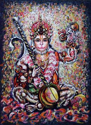 Painting - Hanuman - Ecstatic Joy In Rama Kirtan by Harsh Malik