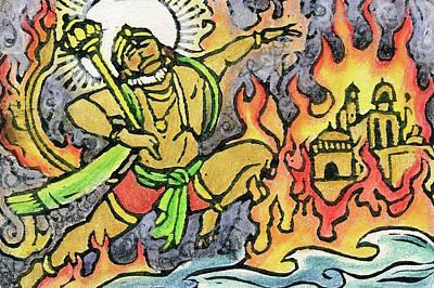 Mixed Media - Hanuman Leaps Through Lanka by Jennifer Mazzucco