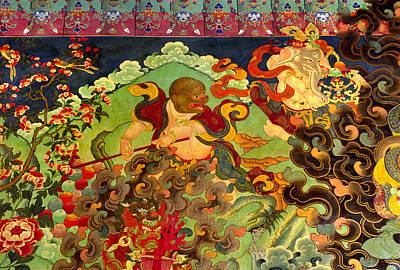 Tibetan Buddhism Photograph - Hanuman Mural - Sera Monastery Tibet by Craig Lovell