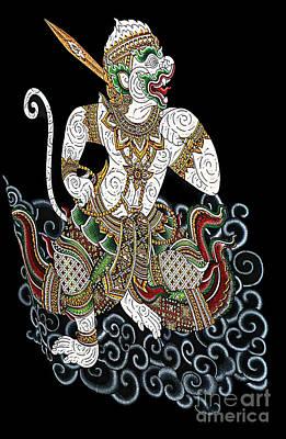 Digital Art - Hanuman Mythical Warrior Monkey by Ian Gledhill