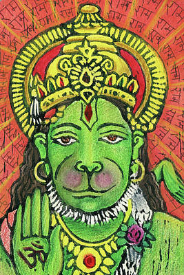 Creation Mixed Media - Hanuman Portrait  by Jennifer Mazzucco