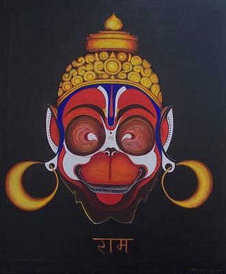 Indian Tribal Art Painting - Hanuman by Tatiana Biziukova