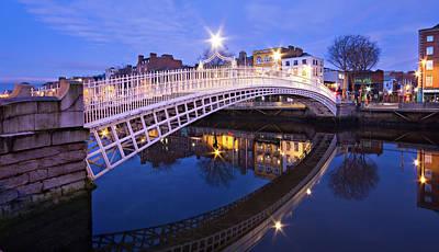 Photograph - Ha'penny Bridge At Blue Hour - Dublin by Barry O Carroll