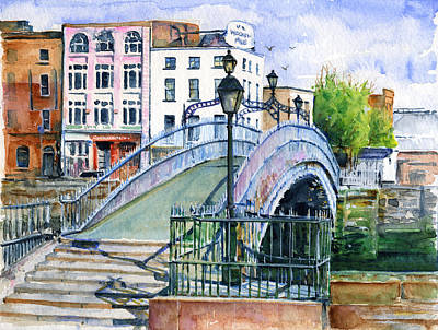 Painting - Ha'penny Bridge Dublin by John D Benson
