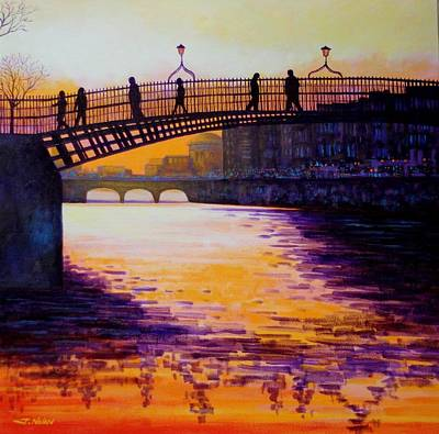 Joyce Painting - Ha'penny Bridge Dublin by John  Nolan