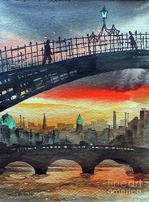 Painting - Hapenny Bridge Sunset, Dublin...27apr18 by Val Byrne