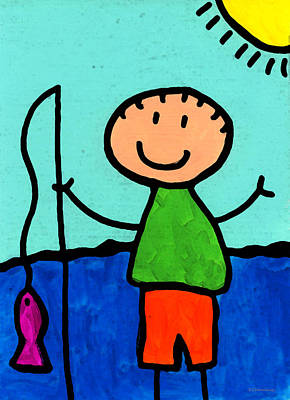 Happi Arte 2 - Boy Fish Art Art Print by Sharon Cummings