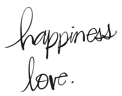 Hand Drawn Photograph - Happiness And Love Lettering - Ai by Gillham Studios