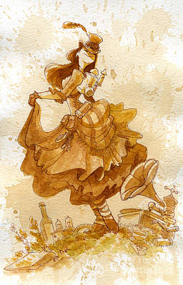 Steampunk Painting - Happiness by Brian Kesinger