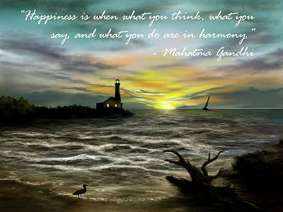 Digital Art - Happiness Inspirational Quote by Ron Grafe