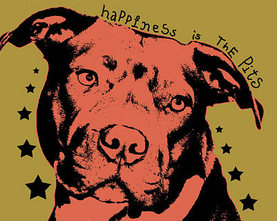 Pitbull Wall Art - Painting - Happiness Is The Pits by Dean Russo