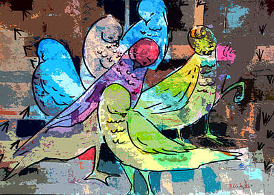 Pigeons Digital Art - Happiness Is Togetherness by Mindy Newman