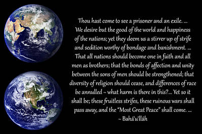 Photograph - Happiness Of The Nations by Baha'i Writings As Art