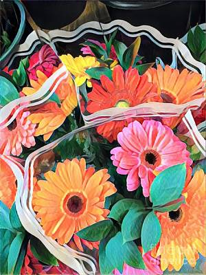Photograph - Happiness To Go - Colorful Daisy Bouquet by Miriam Danar
