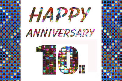 Painting - Happy 10th Tenth Anniversary Celebrations Design On Greeting Cards T-shirts Pillows Curtains Phone C by Navin Joshi