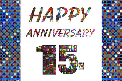 Painting - Happy 15 15th Fifteenth Anniversary Celebrations Design On Greeting Cards T-shirts Pillows Curtains  by Navin Joshi