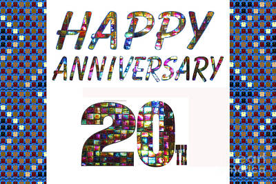 Painting - Happy 20 20th Anniversary Celebrations Design On Greeting Cards T-shirts Pillows Curtains  by Navin Joshi