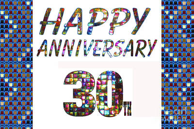 Painting - Happy 30 30th Anniversary Celebrations Design On Greeting Cards T-shirts Pillows Curtains  by Navin Joshi