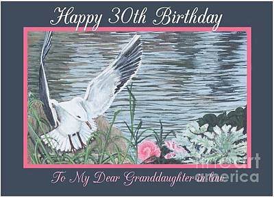 Painting - Happy 30th Birthday Dove Card With Water Background And Pink Flower by Joy Ballack