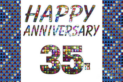 Painting - Happy 35 35th Anniversary Celebrations Design On Greeting Cards T-shirts Pillows Curtains  by Navin Joshi