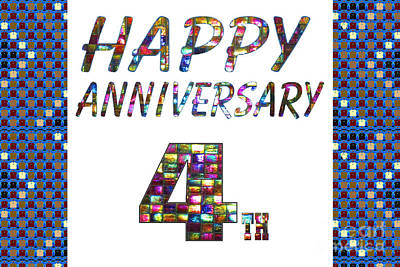 Painting - Happy 4th Fourth Anniversary Celebrations Design On Greeting Cards T-shirts Pillows Curtains Phone C by Navin Joshi