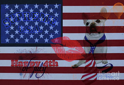 French Bull Dog Wall Art - Digital Art - Happy 4th Of July by To-Tam Gerwe
