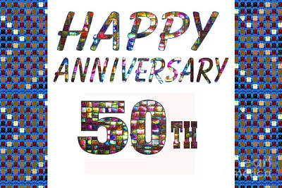 Painting - Happy 50 50th Anniversary Celebrations Design On Greeting Cards T-shirts Pillows Curtains  by Navin Joshi